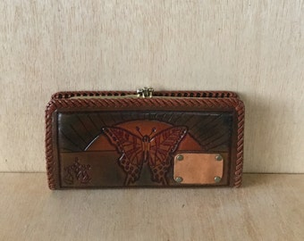 Vintage 1970s Hand Tooled Leather Pocketbook Checkbook Wallet