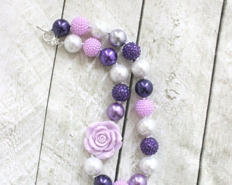 chunky bubblegum bead necklace purple white lavender necklace girls necklace chunky birthday photo prop fall summer