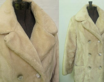 Sale! Faux fur peacoat winter jacket size Medium Large