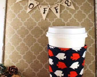 Fish Coffee Cozy - Coffee Cozy - Fabric Coffee Cozy - Tea Cozy