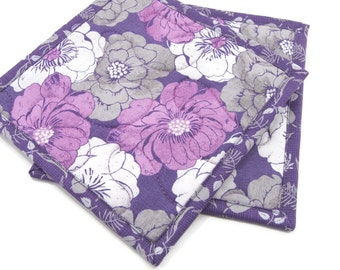 Purple Floral Pot Holders, Quilted Fabric Hot Pads - Purple and Grey Flower Pot Holders - Set of 2 - 8 Inch Potholders, Purple Hot Pads