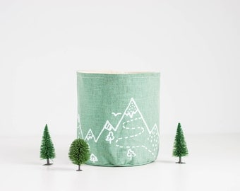 "Mint canvas Basket, Green fabric storage, Fabric container, Fabric planter, Screen printed ""Mountains"" design"