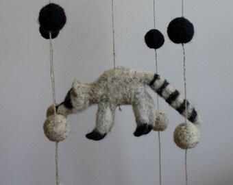 Nursery Mobile // Needle Felted Raccoon