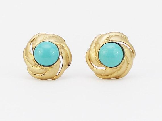70s Gold Turquoise Les Bernard Earrings