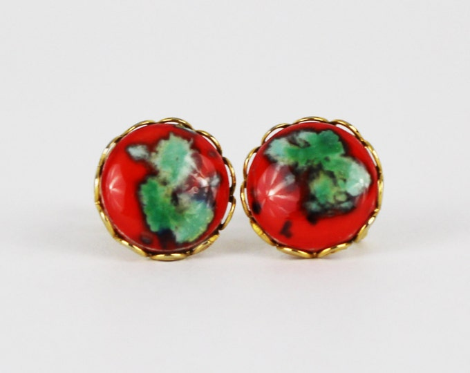 Red and Turquoise Button Earrings - Vintage 1950s Screw Back Cabochon Earrings - Round Earrings