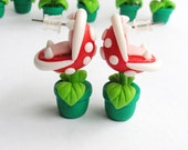 Super Mario Bros Earrings Piranha Plant Nintendo Red/Green  Hand Made 3D