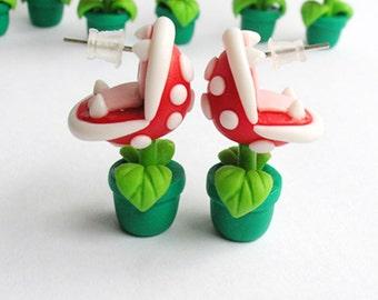 Super Mario Bros Earrings Piranha Plant Nintendo Red/Green  Hand Made 3D