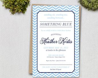 Something Blue Chevron Bridal Shower Invitation // DIY Printable 5x7 - Print Yourself DIGITAL FILE