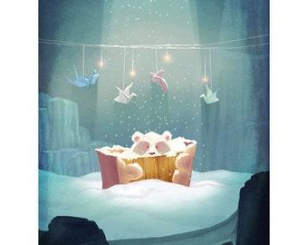 Baby Polar Bear - Art Print - Wall Art Print - Decor Art Print