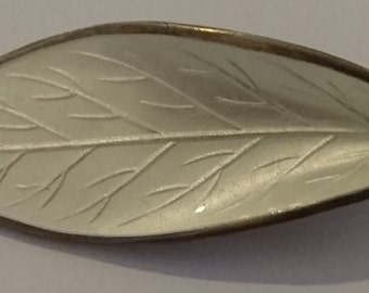 Vintage white enamel leaf brooch in sterling silver by David Anderson