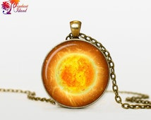 SUN Pendant Sun Necklace Galaxy necklace Space pendant sun orange Jewelry Necklace for him Art Gifts for Her SUN PENDANT Sun necklace Space