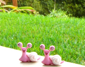 Two Garden Snails- Miniature Fairy Accessories
