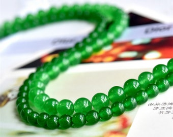 Natural Green Jade Beads, Smooth Polished Round 4mm-14mm, 15.4 Inch Full Strand (GJ06)