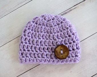 Newborn Hat Ready to Ship - Chunky Light Purple Baby Hat with Button - Great Gift or Photo Prop