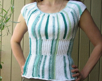 Handknit Summer Top Short Sleeves Sweater Bright Striped Cotton Top Round Neckline Top for Women Size S-M, Ready to ship