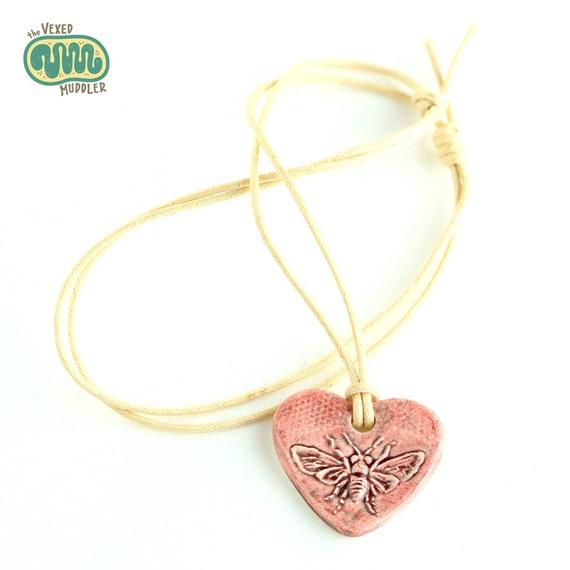 Honey bee necklace, bee jewellery, heart-shaped ceramic honeybee pendant, gift for beekeeper