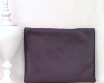 Large Clutch / Oversized Clutch Bag / Fold over Clutch Bag /  Clutch Bag / Clutch Purse   / Handbag / Purse/ Aubergine Faux Leather