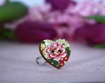 Vintage rose heart button ring