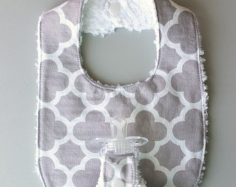 Baby Girl Binky Bib in Riley Blake Gray Quatrefoil Fabric with Chenille Back