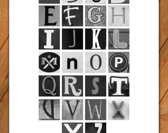 Alphabet poster in black and white - 11x17