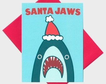 Funny Christmas Card - Santa Shark - Funny Holiday Card - Shark Christmas Card - Xmas Pun - Funny Christmas Pun - Holiday Pun Card -  Funny