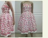1950's Floral Summer Dress, Rockabilly Dress, Full skirt Garden Party Dress, Midcentury dress, swing dress, Endless Summer dress