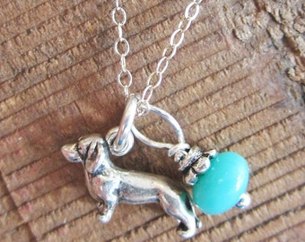 Dachshund Necklace- Glass Bead Sterling Silver Custom Necklace (Your Choice of Color and Initial)