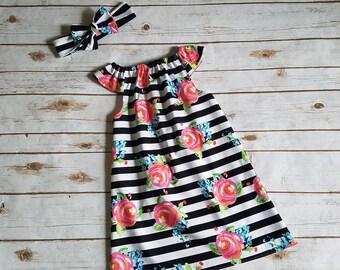 Striped Floral Flutter Sleeve Dress Spring Dress Summer Dress Grow with me dress Everyday play dress playdress beach beachware Pink Black