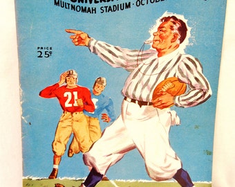 Vtg 1945 OSU vs University of Washington Game Oregon State Football Team Program Advertising Multnomah Stadium