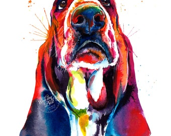 Colorful Basset Hound Art Print - Print of my Original Watercolor Painting