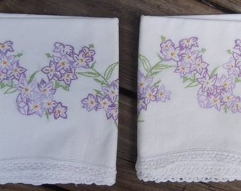 Hand Embroidered pillowcase pair