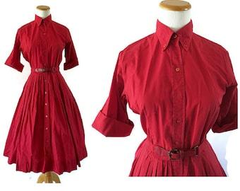 50s Dress Shirtwaist Shirtdress 1950s Day Dress Dark Red Burgundy The Spectator Full Skirt Size Small