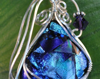 WireWrapped Dichroic Glass Pendant
