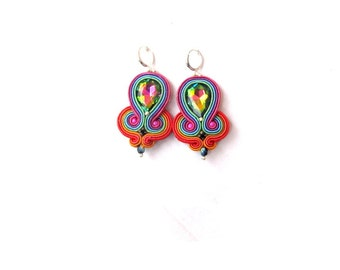 Glamour Vitrail Dangle Earrings , Colorful Earrings with Crystals , Soutache Jewelry , Handmade Earrings , Hand Embroidered Dangle Earrings