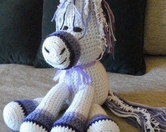 "Crocheted pony horse stuffed animal doll  toy ""Blizzard"""