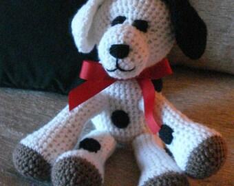 "Crocheted puppy dog stuffed animal doll toy ""Spots"""