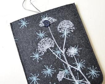 iPad / iPad Air  sleeve - case - cover with Wild Flower Pattern, Silkscreen Printed Felt
