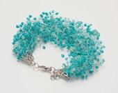 SALE Turquoise bracelet seed beads bracelet elecrtric blue bracelet multistrand bracelet mom bracelet bead crochet bracelet