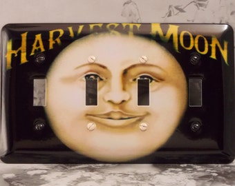 Metal Moon Light Switch Cover 4 Toggle - Customizable - 4T Four Toggle - Harvest Moon Switch Plate
