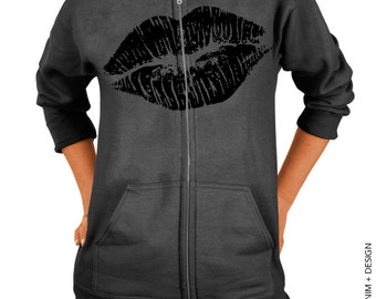 Lips Hoodie - Lipstick Kiss - Valentine's Day - Charcoal Gray Zip Up Hoodie