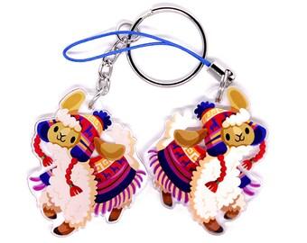 Cute Llama Keychain, Cute Llama Phone Charm, alpaca, alpaca keychain, alpaca charm, kawaii, kawaii charm, anime keychain, cute animals