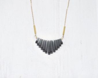 Hematite Fan Statement Brass Necklace