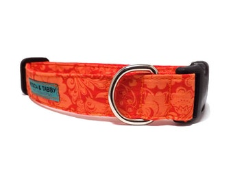 Calypso - Orange floral Dog Collar | Available in 4 widths for Mini Dogs to Large Dogs