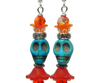 Sugar Skull Earrings, Turquoise Color Skull, Skull King, Acrylic Flowers, Day of the Dead, Boho Chic, Halloween Jewelry, Swarovski Crystals