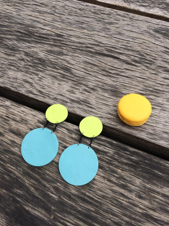Yellow and blue statement circle leather earrings