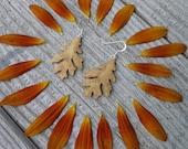 Oak leaf Earrings Silver, Festival Fashion Earrings, Dangle drop leaf earrings, Natural autumn leaf earrings, Boho wooden jewelry, Nature