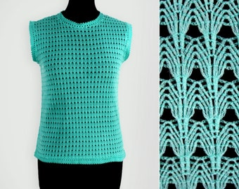 1960s Turquoise Lace Knit Sleeveless Top