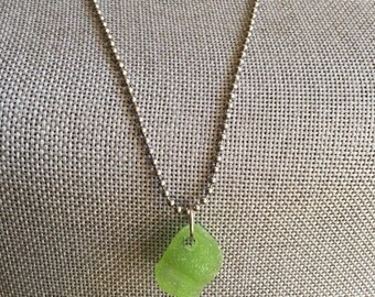 Bright green beach glass necklace