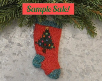 Decorated Christmas Tree Hand-Knit Stocking Ornament - Sample Sale