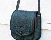 embossed emerald green black tooled leather bag - shoulder bag - crossbody bag - handbag - ethnic bag - messenger - tooled leather purse